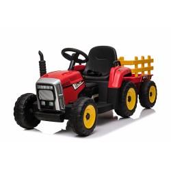 Ηλεκτροκίνητο Παιδικό Τρακτέρ 12V Με Trailer σε Κοκκινο χρώμα