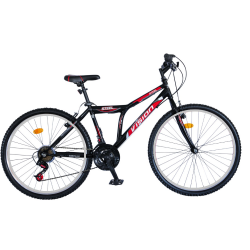 Ποδήλατο Mountain 26″ STEEL Steel Black-Red 21 Ταχυτητες