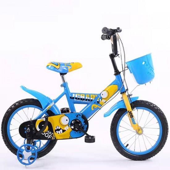 Παιδικό ποδήλατο 16 ίντσες με βοηθητικές ρόδες σε Κίτρινο-Μπλέ