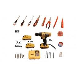 Επαναφορτιζόμενο δραπανοκατσάβιδο-κρουστικό BORSTAIN 20V με 2 μπαταρίες 3AH