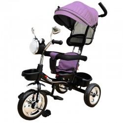 OEM Παιδικό Τρίκυκλο Ποδήλατο Με Σκίαστρο Και Μπάρα Καθοδήγησης με μουσική και φανάρι για ηλικία απο 1 εώς 4 ετών Σε μώβ