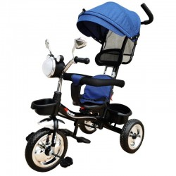 OEM Παιδικό Τρίκυκλο Ποδήλατο Με Σκίαστρο Και Μπάρα Καθοδήγησης με μουσική και φανάρι για ηλικία απο 1 εώς 4 ετών  Σε Μπλέ